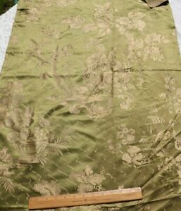 """Antique 19thC French Chinoiserie Patterned Green Silk Fabric~135""""X16"""""""