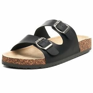 Alpine Swiss Womens Double Strap Slide Sandals EVA Sole Flat Comfort Shoes