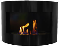 Riviera Deluxe Bioethanol Fireplace Black Wall Fire Place With Firebox 1 Liter