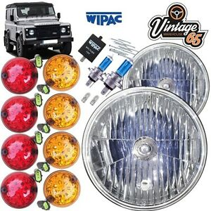 Land-Rover-Defender-Complete-Crystal-Headlight-amp-8pc-LED-Light-Upgrade-Kit-Wipac