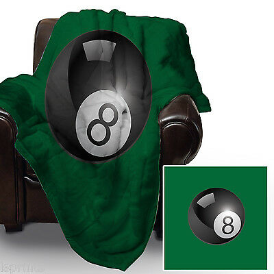 8 BALL POOL SNOOKER DESIGN SOFT FLEECE BLANKET COVER THROW BED L/&S PRINTS