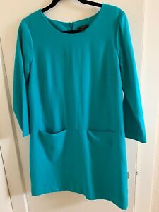 J-CREW-148-Jules-Wool-Lined-Shift-Front-Pocket-Dress-in-Turquoise-Size-6