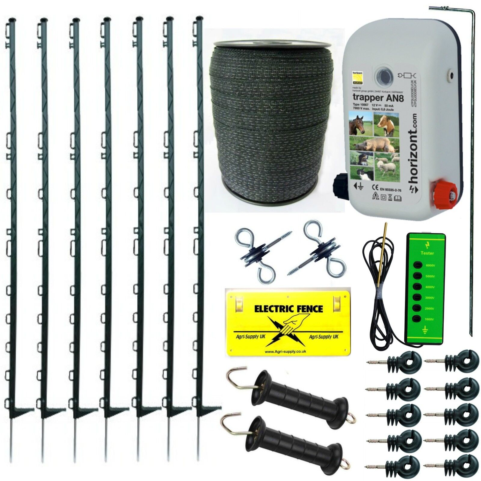 Cerca Eléctrica Kit de inicio con AN8 4FT verde Cinta 20MM puestos dinamizador de esgrima