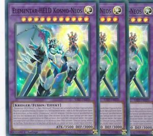 Verzamelingen YuGiOh 3x Elementar-HELD Kosmo-Neos SAST-DE036 SUPER RARE TCG AtzenJens