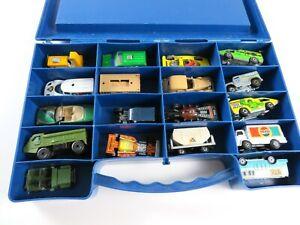 Vintage-Lot-of-1976-Matchbox-18-Car-Case-Full-of-70s-amp-80s-Die-Cast