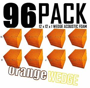 Acoustic-Foam-Orange-96-Pack-12x12x-1-Wedge-Tiles-for-Recording-Soundproofing