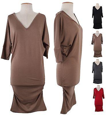 V-Neck Dolman 3/4 Sleeve Long Stretch Tunic Knit Sweater Mini Pullover Dress