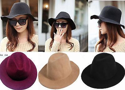 Vintage Lady Women Wide Brim 100%Wool felt Hat Floppy Bowler Fedora Cap hats