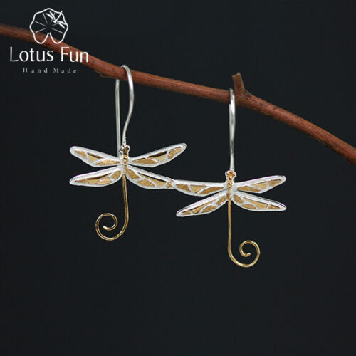 Unique Multi-Color Big Dragonfly Drop Earrings Solid 925 Silver Jewelry Women