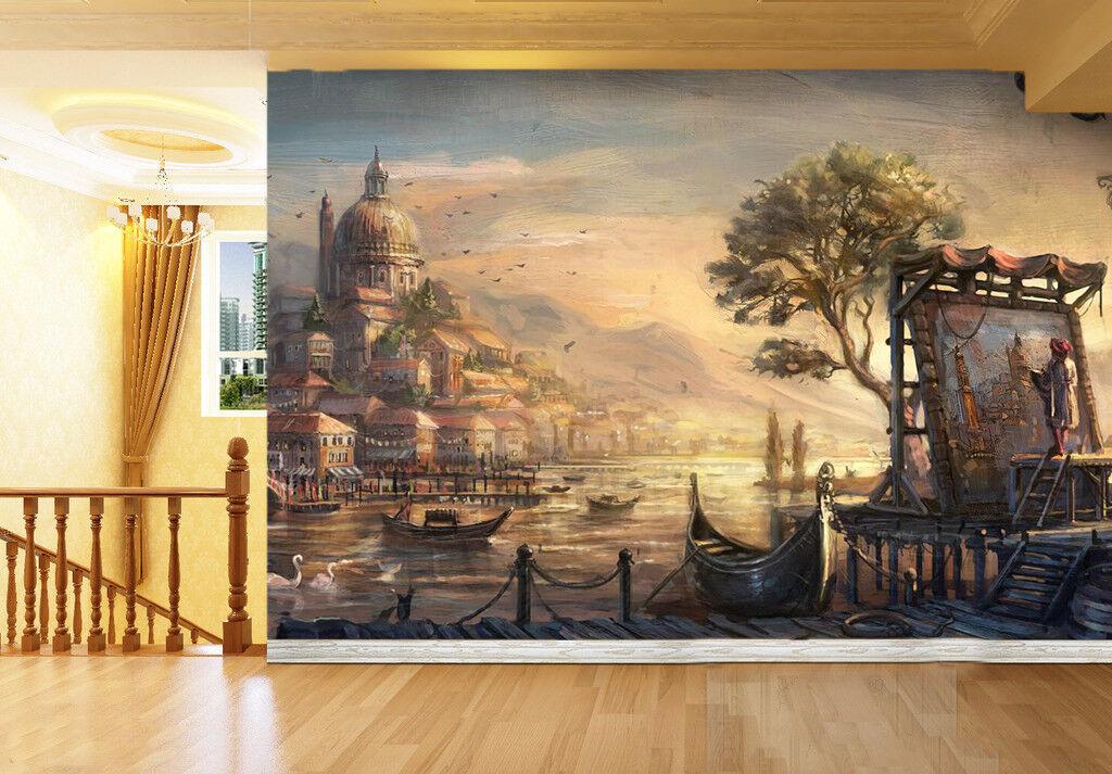 3D Tree Sunset 445 WandPapier Murals Wand Drucken WandPapier Mural AJ Wand UK Summer
