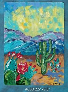 Original-ACEO-Abstract-desert-miniature-acrylic-painting-cacti