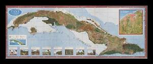 FRAMED Map Of Of Cuba By Gerardo Canet And Erwin Raisz X - Vintage map of cuba