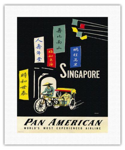 Singapore Island City Malaysia Vintage Airline Travel Art Poster Print Giclée