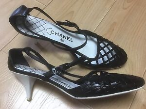 f54a84656475f6 CHANEL Black White Leather Net Strappy Closed Toe Shoes Kitten Heels ...