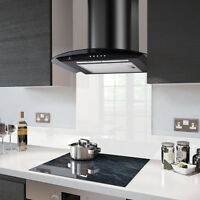 60cm Dc77 Black Cooker Hood With High Gloss White Fitted Glass Splashback