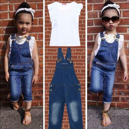 US Summer Toddler Girls Kids Outfit Clothes Ruffle Shirt Tops+Jeans Overalls Set