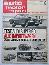 Auto Motor Sport 6/1967, Test: Audi Super 90, Opel Commodore