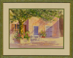 Terry-Harrison-b-1947-Signed-Contemporary-Watercolour-Continental-Garden