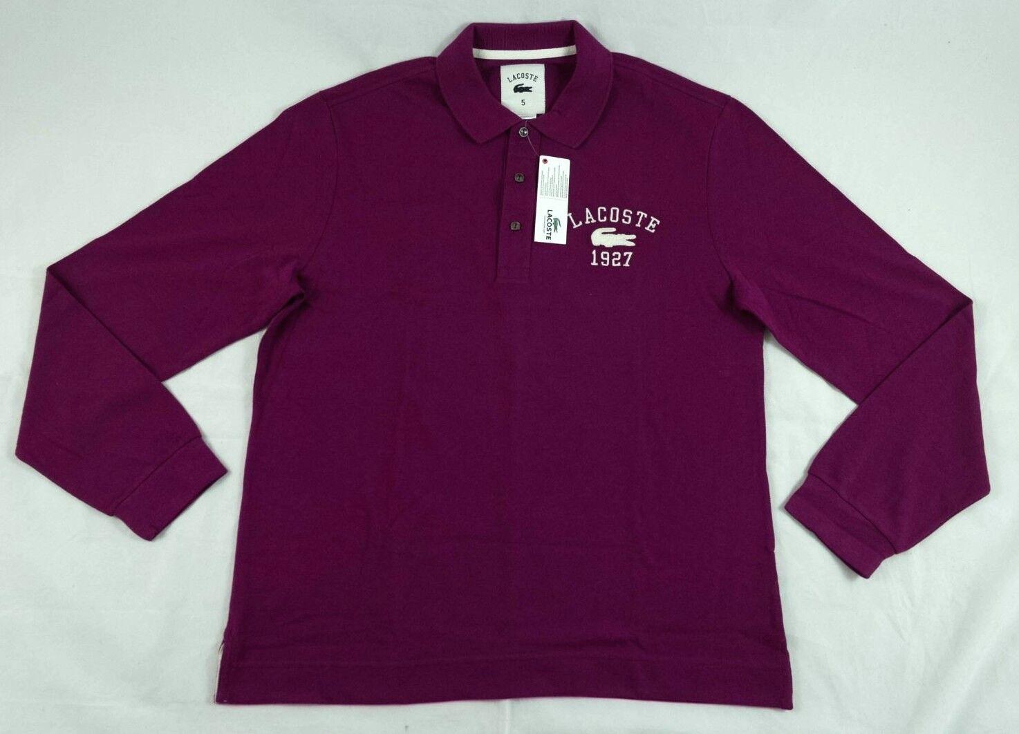 Lacoste lila Buttoned CollaROT Cotton Polo Sweatshirt Größe M 115 PH657D BNWT