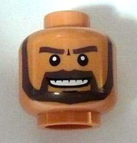 Lego 12 New Flesh Minifigure Head Beard Dark Brown White Pupils and Grin