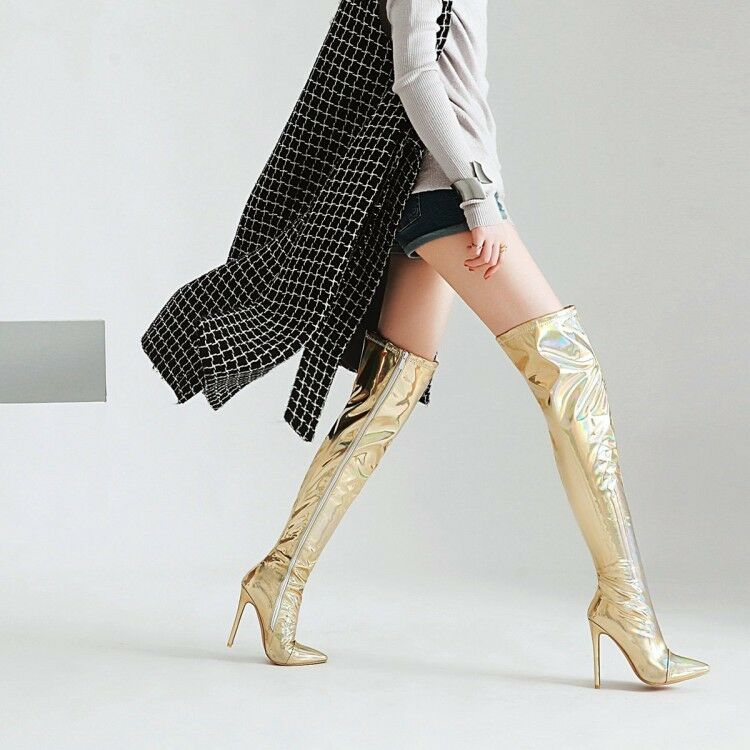Women Stilettos High Heels Over Knee Boots Pointy Pointy Pointy Toe Zip Sexy Stage shoes plus 941c58