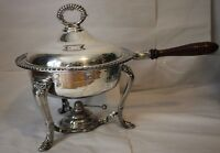 """Vintage Silverplate 12"""" Chafing Dish Stand Burner Lid Complete Silver Plated"""