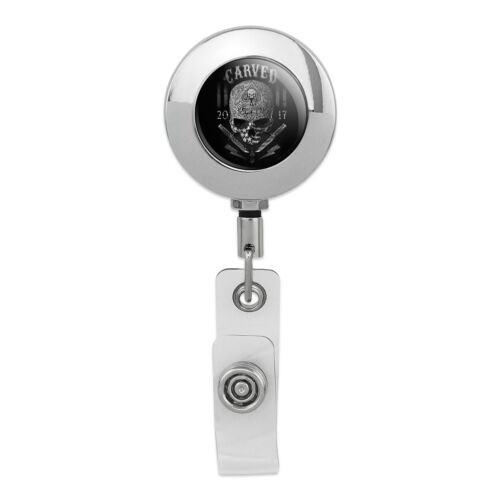 Carved One Shot Kill USA Flag Skull Tactical Metal Chrome Badge ID Card Holder