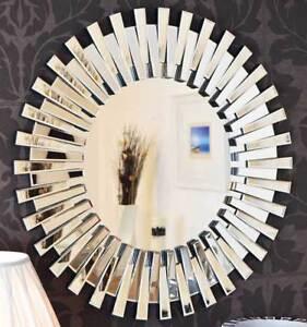 Large Modern D Sunburst All Glass Venetian Round Wall Mirror 3ft Or 91cm New 5055781807961 Ebay