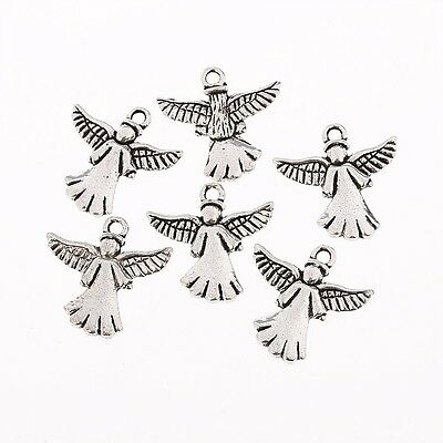 Angel Tibetan Silver Bead charms Pendants fit bracelet 10pcs 20x20mm
