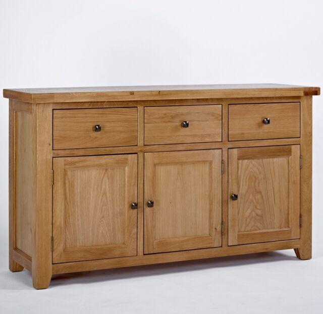 Devon large 3 door 3 drawer sideboard solid oak living dining room furniture