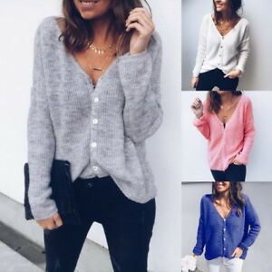 Womens V-Neck Button Down Knit Cardigan Sweater Vintage Inspired ... 9b9fb911a