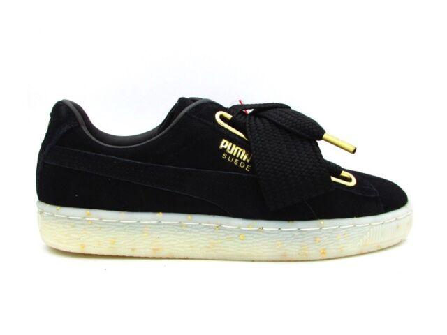 on sale 728da bab11 Puma Suede Heart Celebrate WN'S Sneakers Black Gold 365561-01