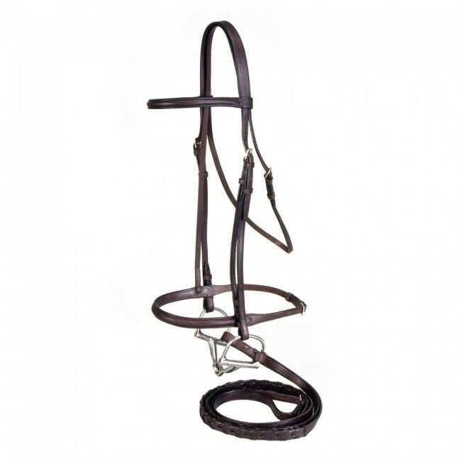 Draft Large Horse Dark Oil Leather English Bridle Headstall Laced Reins