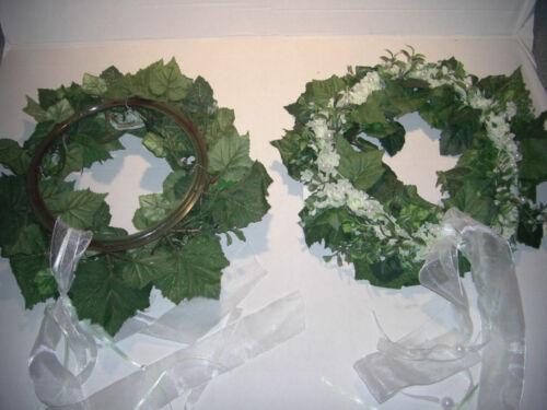 2 Blumenkränze Grün Weiss Hochzeitsdeko Hochzeitskranz Tischdeko Türkranz