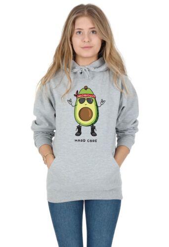 Hard Core Hoody Hoodie Top Funny Avocado Vegan Rock And Roll Punk Vegetarian