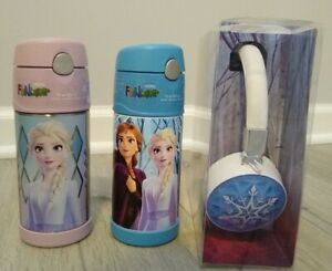 2x-Frozen-Thermos-Funtainer-Light-Up-Headphone-NEW-Elsa-Anna-Bottle-Princess