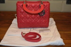 bdabea513e94 Image is loading Christian-dior-Lady-Dior-Lambskin-bag-Red-CAL44551