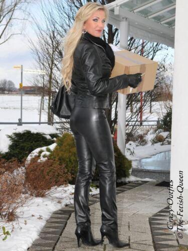 XXXL Lederhose Leder Hose Schwarz Knalleng Größe 32-58 XS