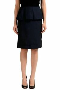 Maison-Margiela-1-100-Wool-Navy-Women-039-s-Peplum-Skirt-US-S-IT-40
