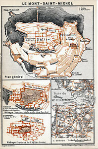 50 Le Mont St. Michel 1913 pt. plan ville + guide (5 p) Abbaye Grande Rue Eglise p5GHdkUy-08031702-379879737