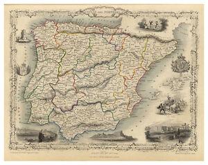 Spain-Portugal-Iberian-Peninsula-Gibraltar-illustrated-map-John-Tallis-ca-1851