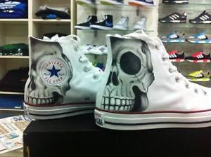 Scarpe Converse AllStar Custom Skulls Teschio Teschi Print Bianche White Hi Alte