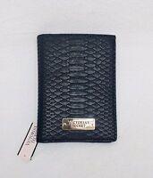 Victoria's Secret Black Faux Python / Crocodile Skin Travel Passport Wallet Case