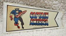 "CAPTAIN AMERICA MARVEL PENNANT w ORIGINAL HOLDER 3""x5 1/8"" Marvelmania 1966 RARE"