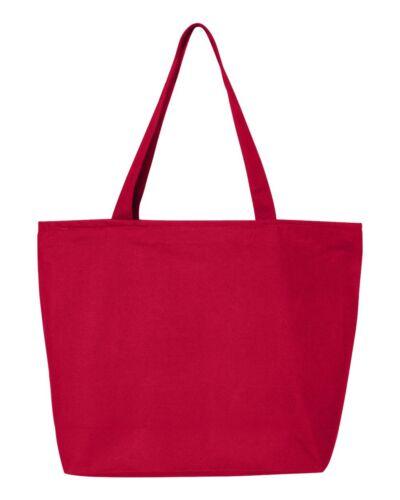 "12 Q-Tees 24.5L Canvas Zippered Tote Bag Q611 NEW 20/""W x 15/""H x5/""D 12 PACK"