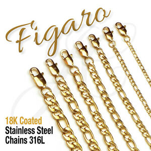Figaro-18K-Gold-Plated-Stainless-Steel-316L-Chain-Necklace-Men-Women-14in-48in