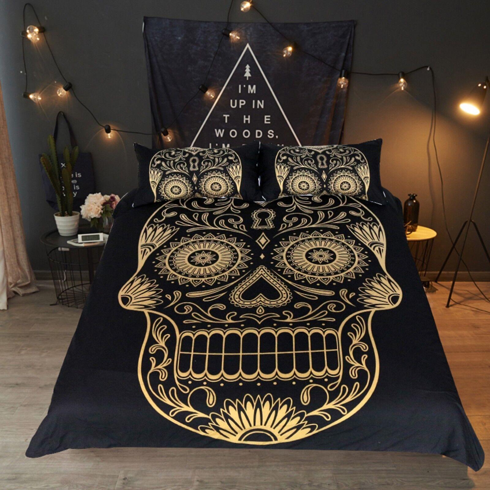 3D golden Skull 43 Bed Pillowcases Quilt Duvet Cover Set Single Queen King AU