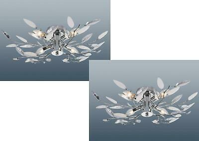 Details about 4 Arm Flush Fit Willow Leaf Ceiling Light Lamp Fitting Chandelier Chrome NEW