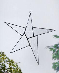 J-Devlin-Glass-Art-Clear-Textured-Stained-Glass-Large-Star-Suncatcher-Ornament