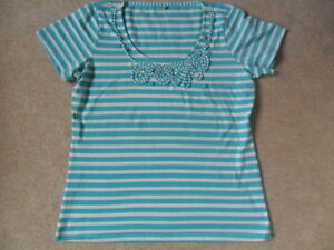 M&s green white stripe pure cotton applique button detail t shirt
